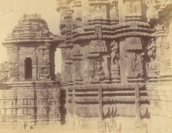 Close view of western of Rajalinga Temple, Bhubaneshwar, showing chapel and portion of shrine